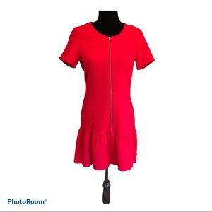 The Kooples red front zip jacquard dress Size L